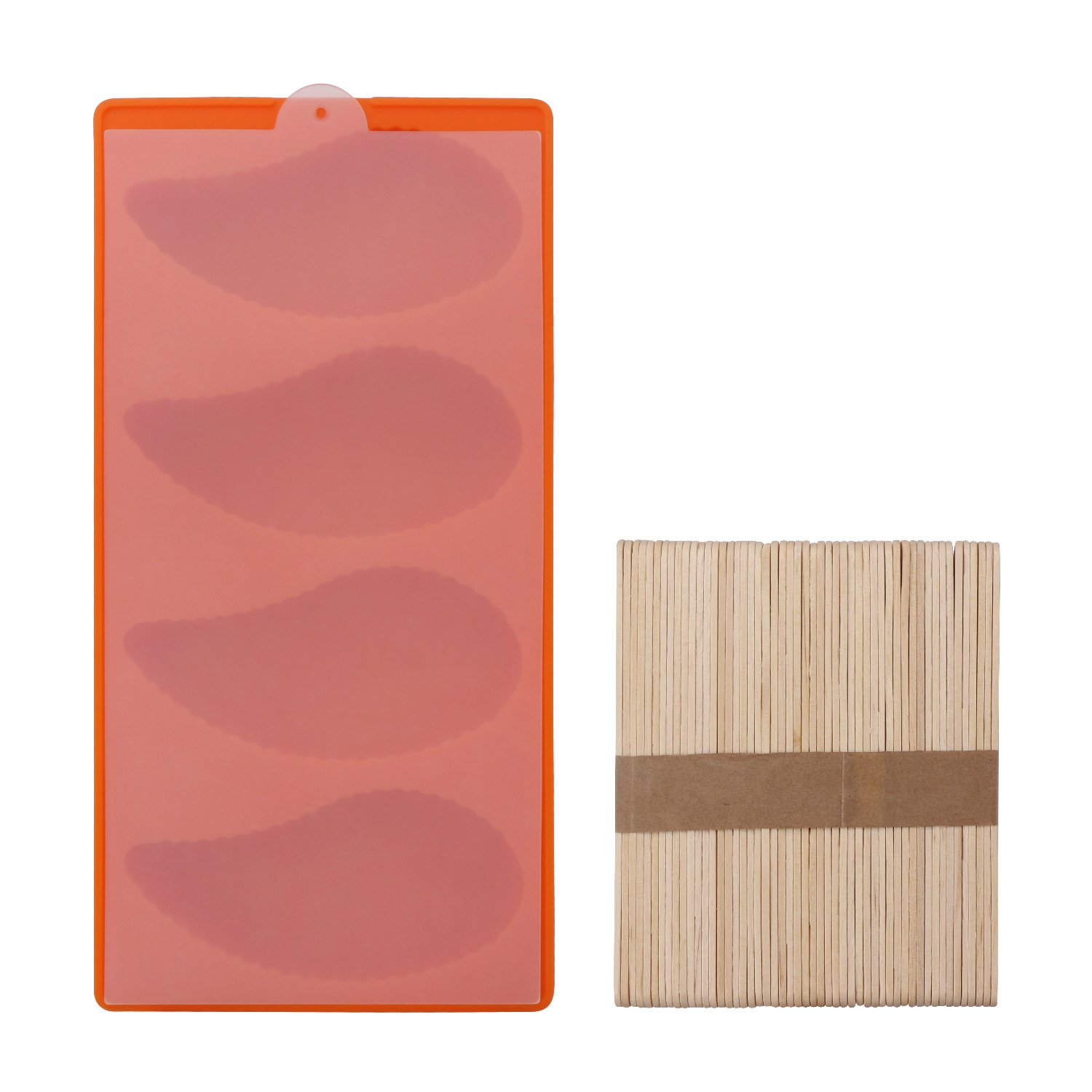 Beasea Popsicle Mold Ice Pop Maker BPA Free Silicone Ice Pop Molds Reusable with 50 Wooden Sticks and Lid