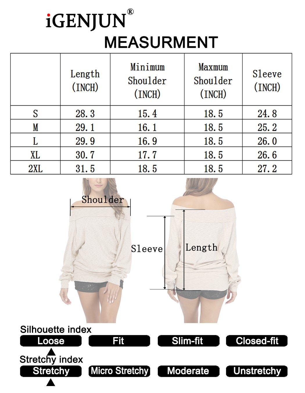 iGENJUN Women's Dolman Sleeve Off The Shoulder Sweater Shirt Tops,Black,M by iGENJUN (Image #5)