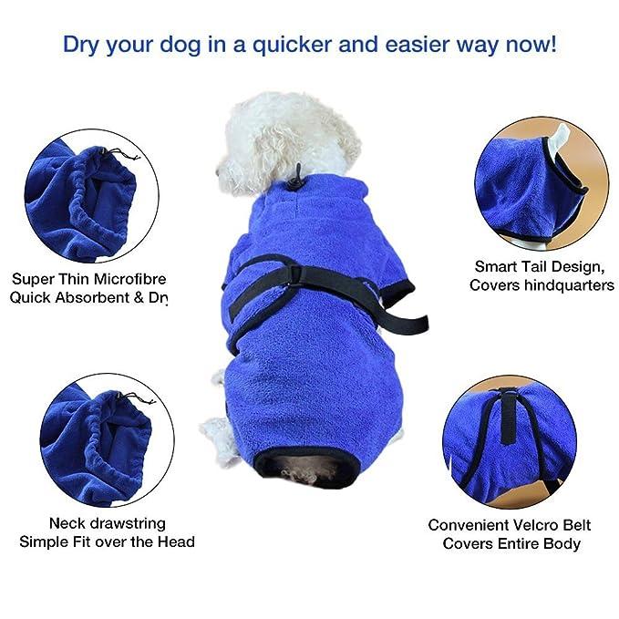 395d02f834   Amazon.com  Fosinz Soft Super Absorbent Quick Drying Dog Microfiber Towel  Dog Bath Robe Easy Wear Coat (S (Chest 20.1
