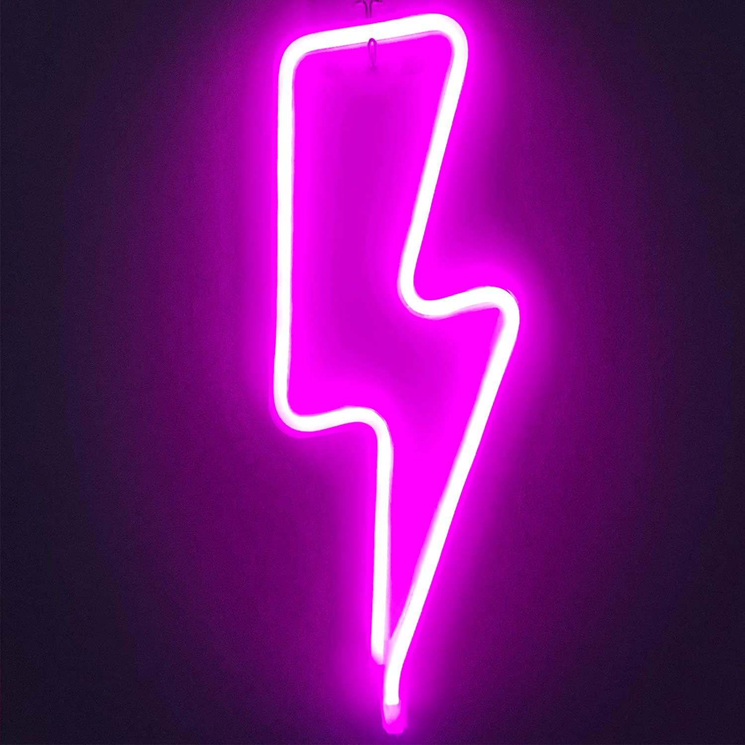 Protecu Pink Lightning Bolt Neon Signs, Decorative Lights Neon Signs for Bedroom, 3 AA Battery/USB Powered Neon Signs for Wall Decor, Kids, Birthday, Party, Christmas, New Year Home Decorations (Pink)