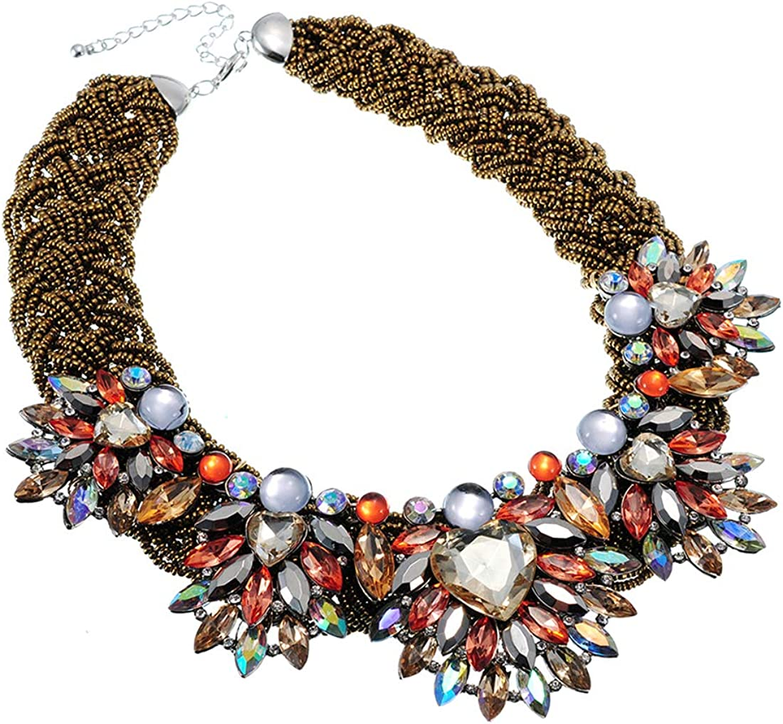 Collar Necklace for Women Boho Crystal Flower Chunky Choker Necklace Geometric Statement Necklace Party Prom Jewelry