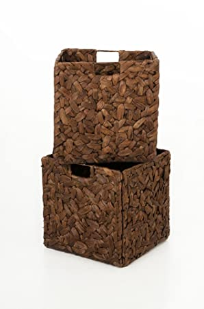 vivanno 2 wild shelf storage baskets water hyacinth for ikea expedit brown vivianos chesterfield mo