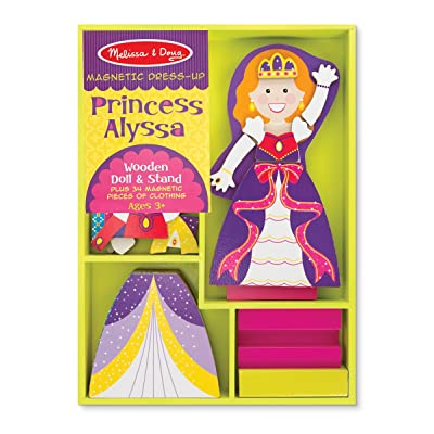 Melissa & Doug Princess Alyssa Wooden Dress-Up Doll and Stand - 34 Magnetic Accessories: Melissa & Doug: Toys & Games