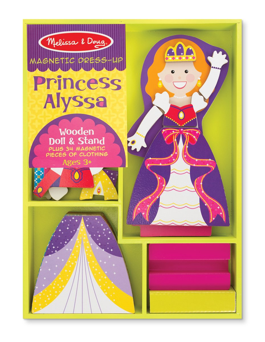 Melissa & Doug Princess Alyssa Wooden Dress-Up Doll and Stand - 34 Magnetic Accessories by Melissa & Doug