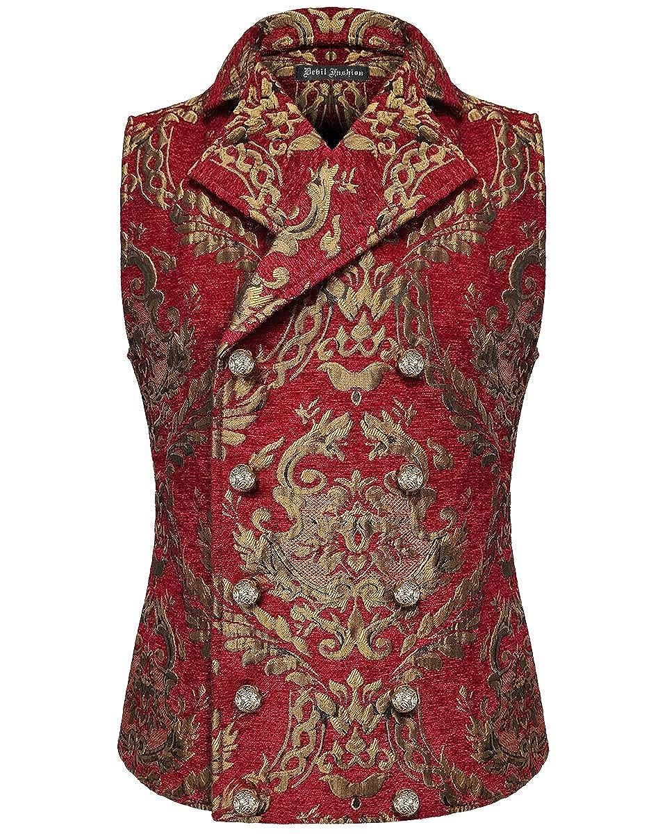 Devil Fashion Uomo Gilet Oro Rosso Damasco Gotico Steampunk Aristocrat