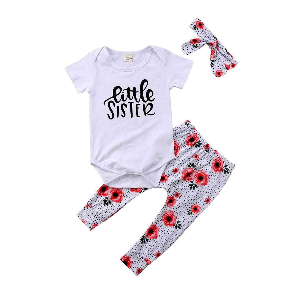 76c2487d76da4 KIDSA 0-24M Little Sister Baby Girl Short Sleeve Bodysuit Romper + Floral  Pants + Headband 3Pcs Outfits Sets