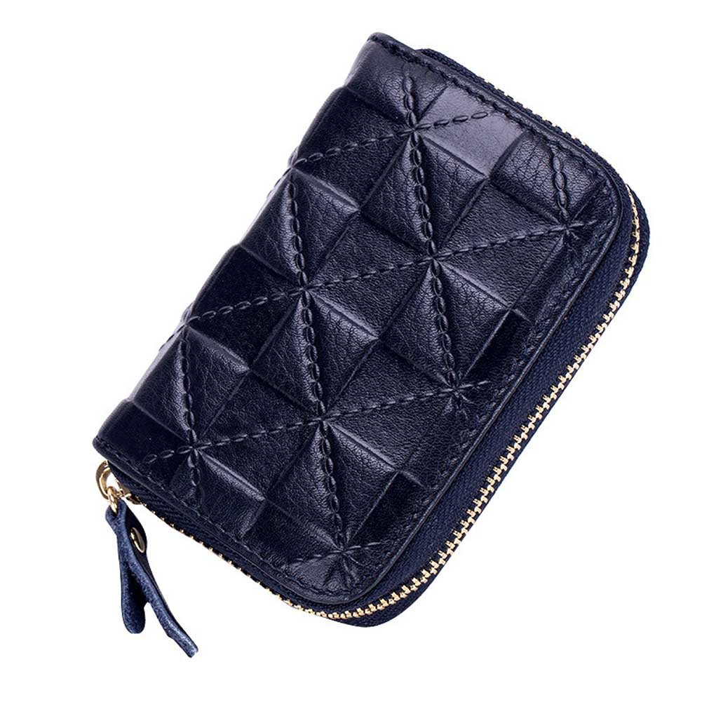 Summer Clearance Big Sale for Back to School Supply-Credit Card Organizer Wallet, Welegant RFID Blocking Genuine Leather Zipper Wallet Purse Case for Men Teen Boys (Square, Navy Blue)