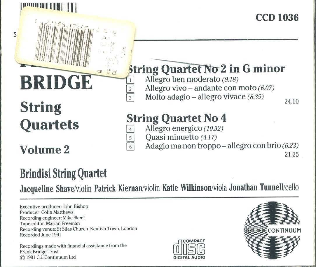 Brindisi String Quartet, Frank Bridge - Frank Bridge: String Quartets No. 2 & 4, Volume 2 - Brindisi String Quartet - Amazon.com Music