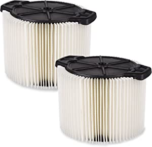 WORKSHOP Wet Dry Vac Filters WS11045F2 Standard Wet Dry Vacuum Filters (2-Pack - Shop Vacuum Filters) For WORKSHOP 3-Gallon To 4-1/2-Gallon Shop Vacuum Cleaners