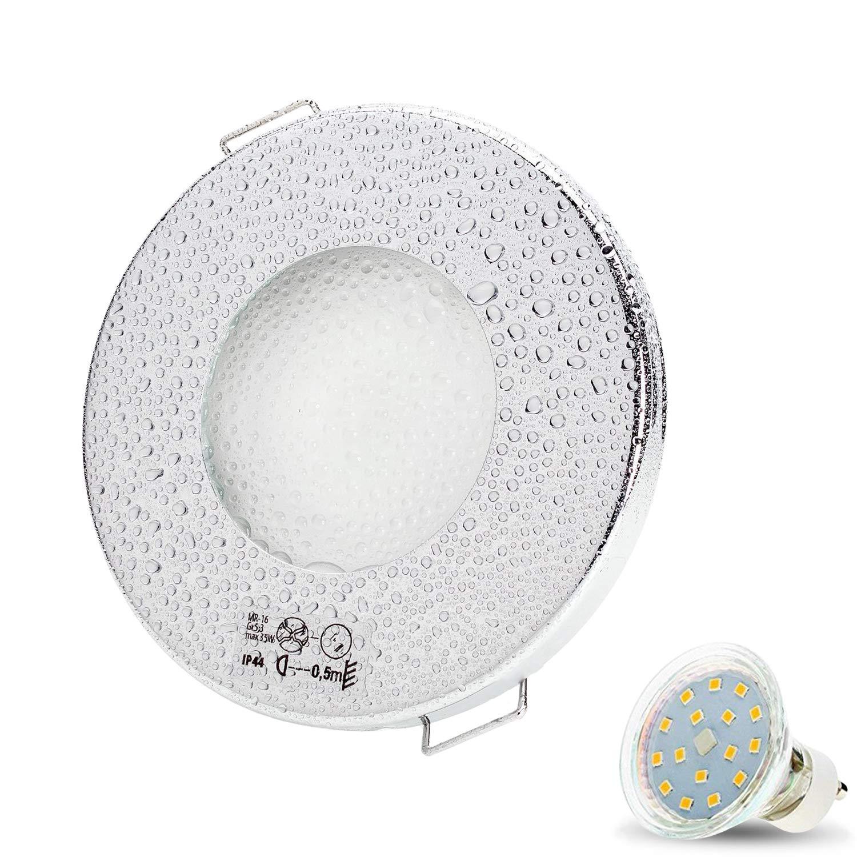Set di faretti cromati da incasso Aqua Slim, 230 V, a LED, 4W, bianco freddo, con attacco GU10, per ambienti umidi e bagno, IP44 moderno 8 JVS-Handel