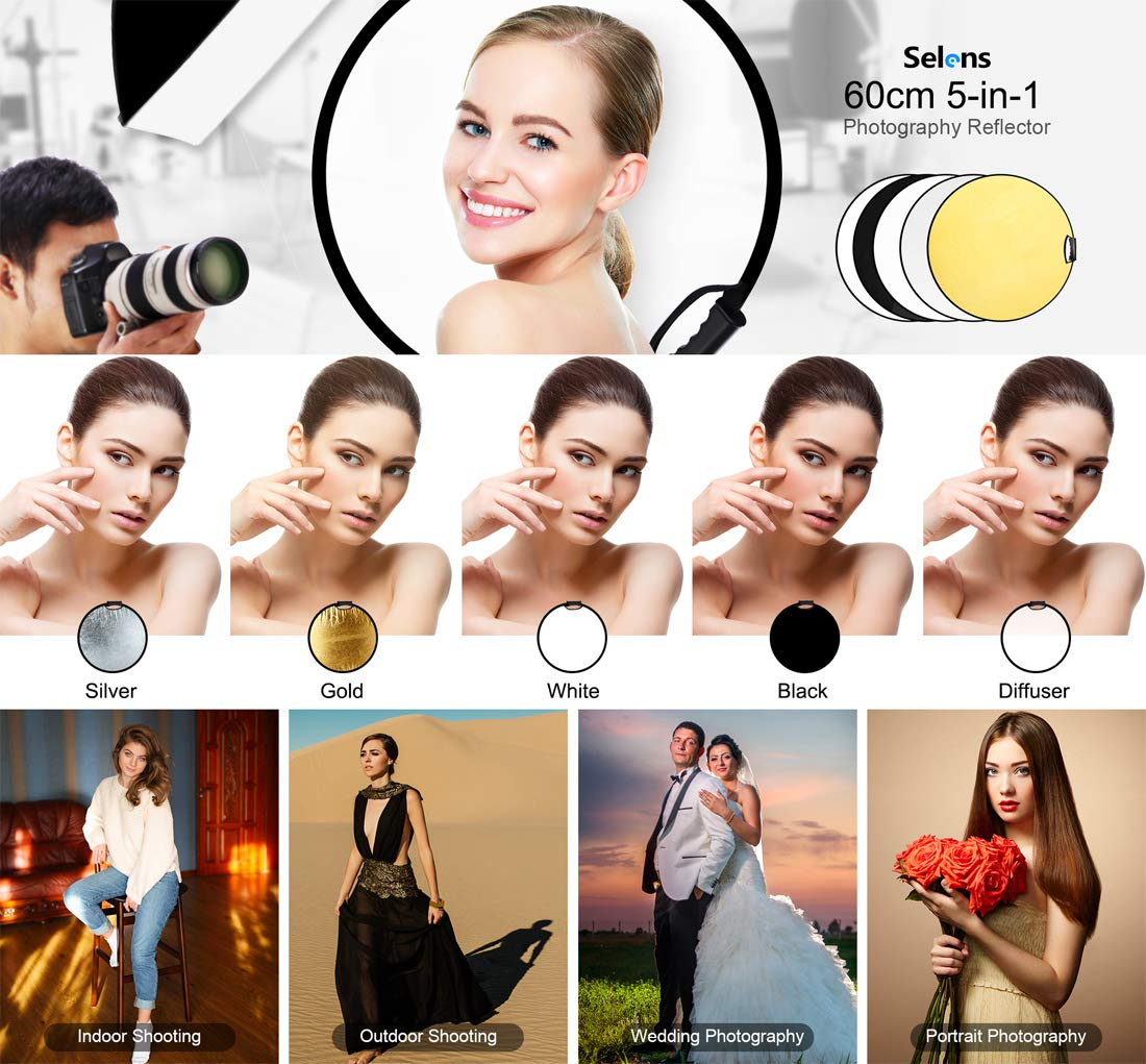 Selens 5-in-1 60cm Round Light Reflector Diffuser Kit Collapsible Portable with Handle Grip and Carrying bag for Photography Photo Studio Lighting /& Outdoor Lighting