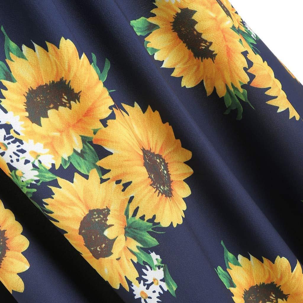 Vestiti da Donna Stampa Girasole//Spalline Abito Eleganti Casual Viaggia Vacanza Estivi Corti Piega UOMOGO