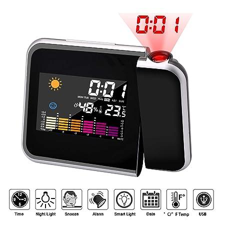 Hangrui Reloj de proyección Digital,LED Alarma, Reloj Modern Reloj ...