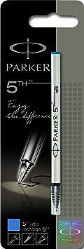 Parker S0958990 Ersatzmine (für 5th-Stift, mittlere Strichbreite, blaue Tinte, Einzelpackung)