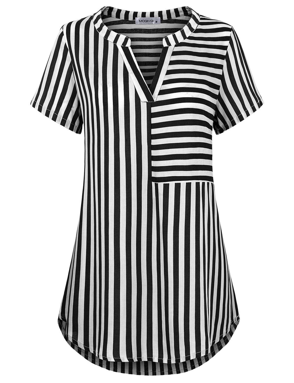 MOQIVGI Womens Chiffon Shirt, Short Sleeve Sexy Split V Neck Pleated Back Curved Hem Loose Fitting Fashion Casual Misses Blouses and Tops Black for Office Wear Black Medium