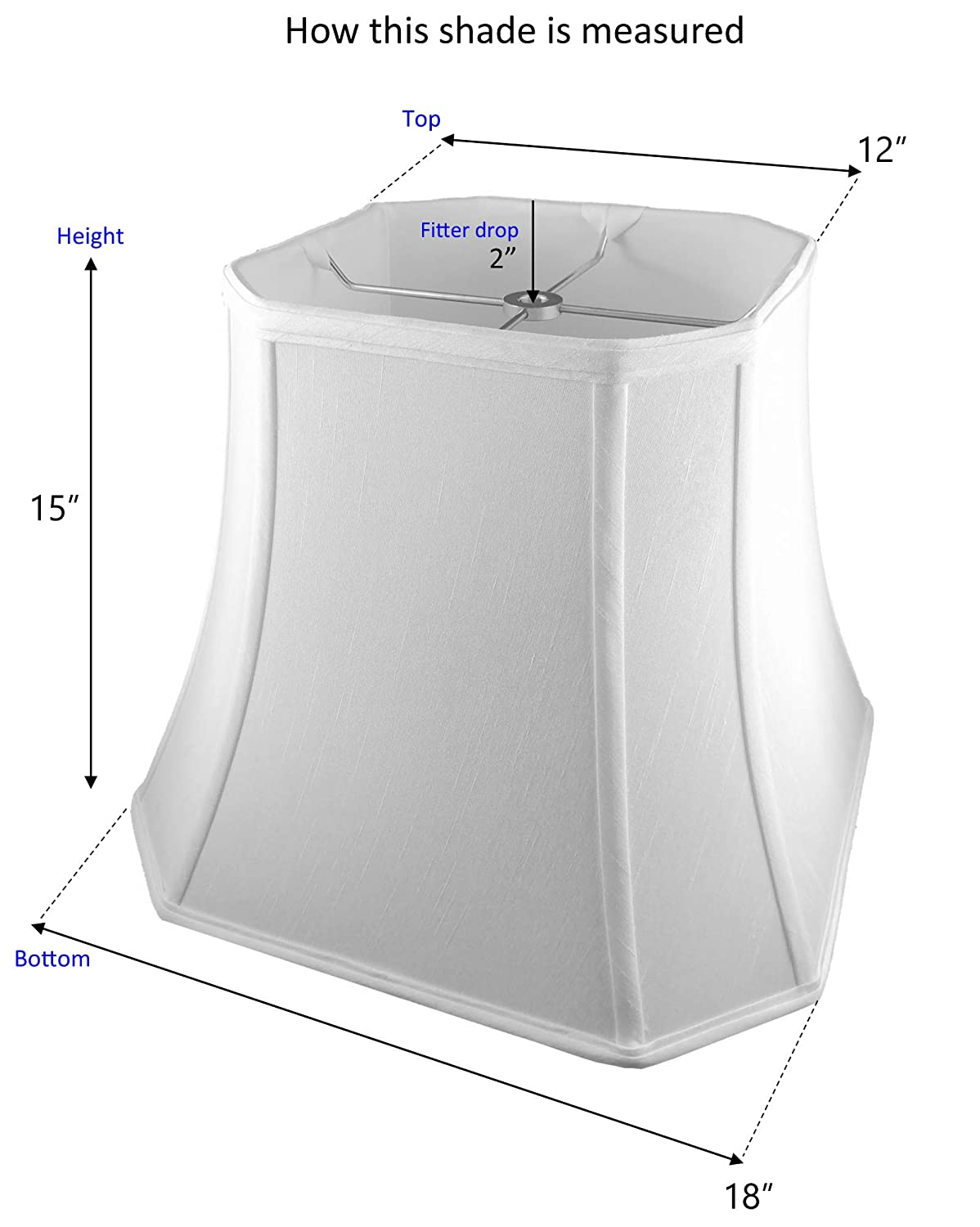 Shantung American Pride 10 x 18 x 14 Square Soft Tailored Lampshade Off-white