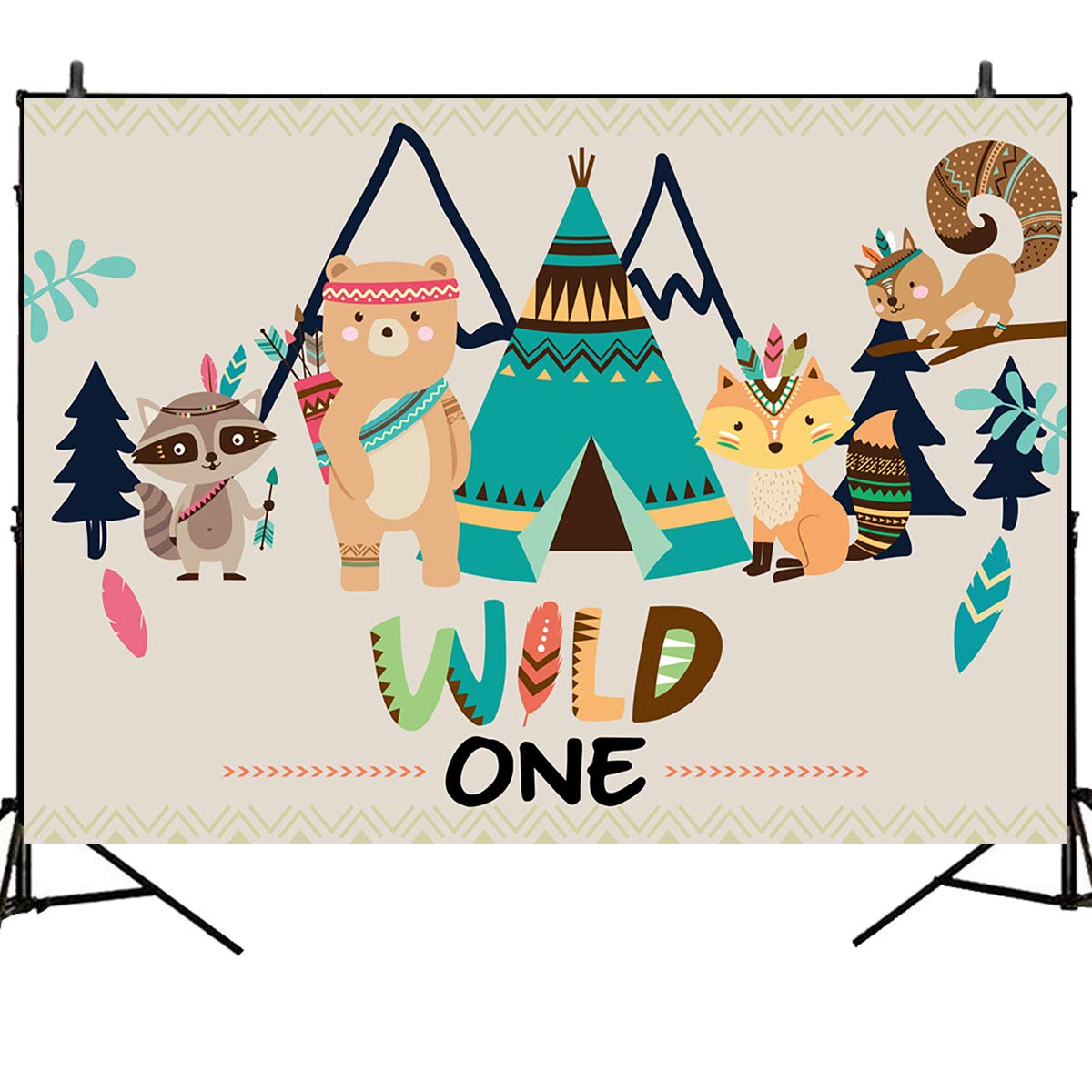 Mehofoto First Birthday Photography Backdrops Wild One Themed 7x5ft Vinyl Backdrop Teepee and Animal Bohemia Style Baby Shower or Birthday Party Dessert Table