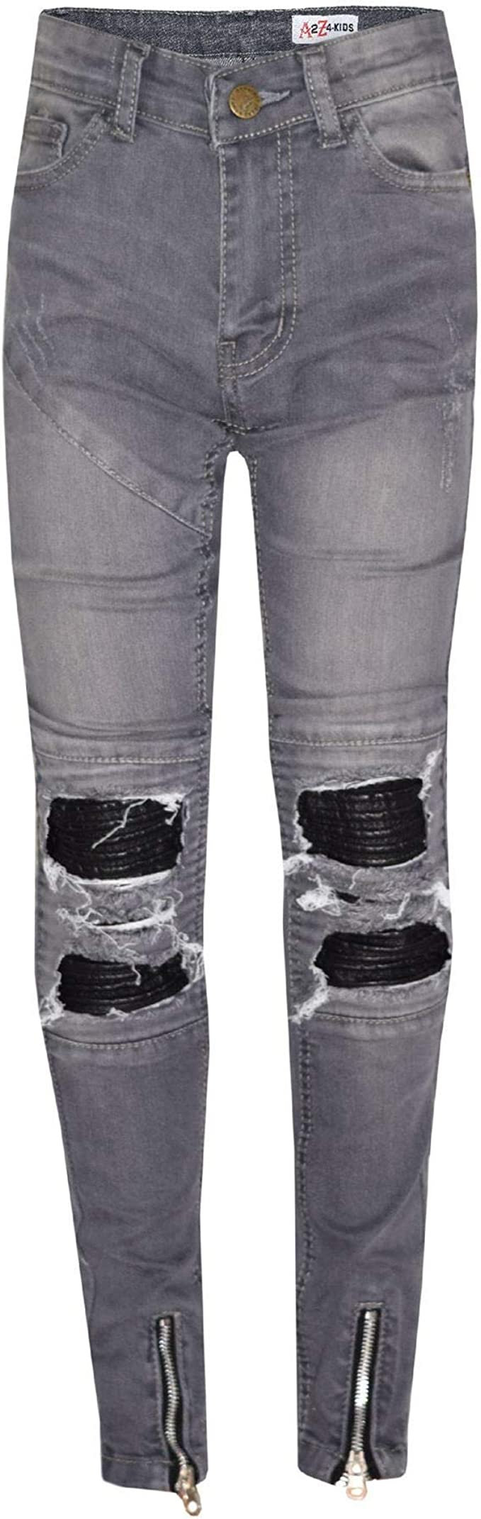 Boys Stretchy Jeans Kids Jeggings Ripped Skinny Pants Trousers Age 5-12 Years