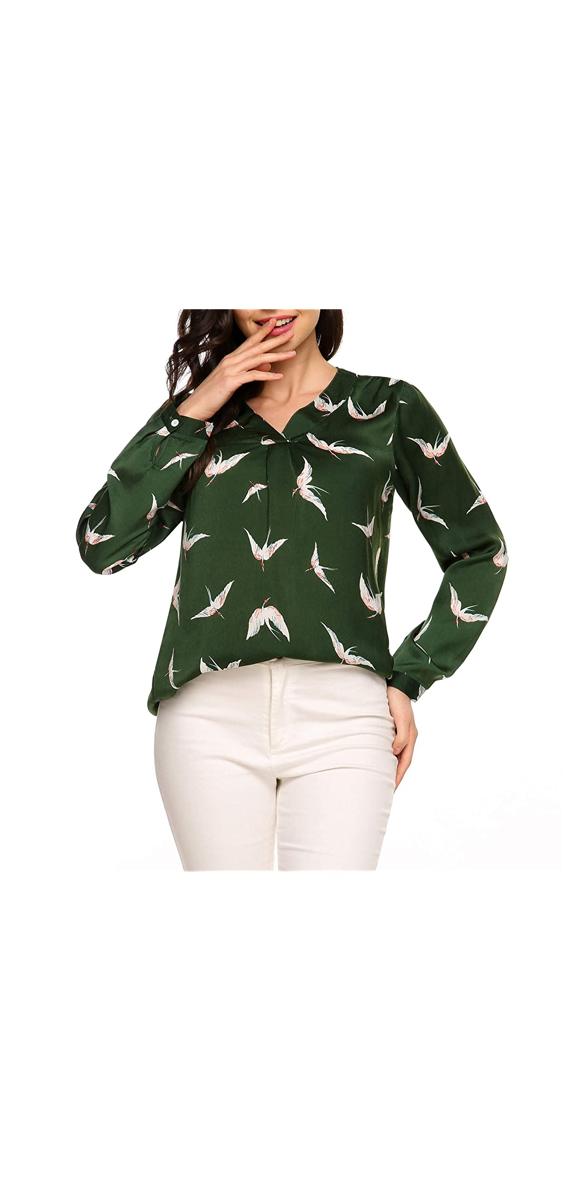 Women Chiffon Blouse V Neck Work Tops Casual Printed