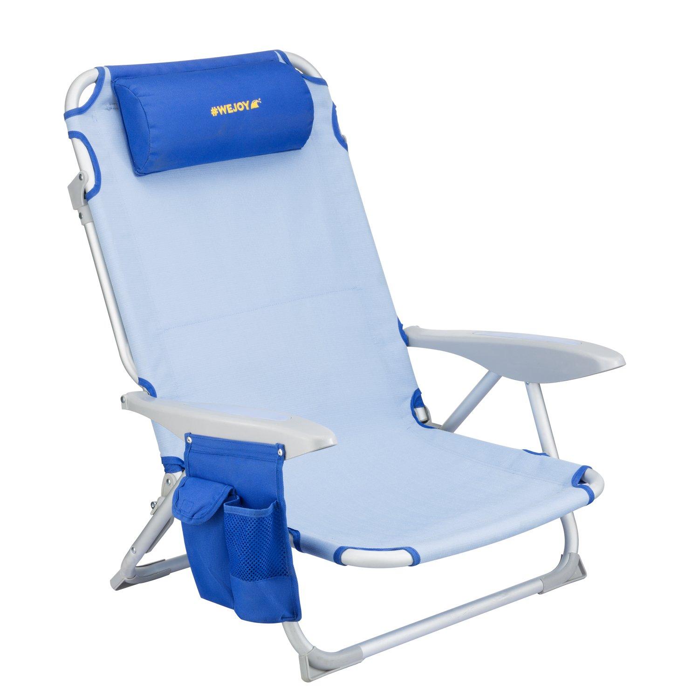 # WEJOY 4-positionビーチ椅子Oversize折りたたみビーチラウンジCooler椅子Layフラットアルミニウムフレームバックパック軽量ポータブルwithアームレスト枕カップホルダーストレージバッグ、サポート264lbs B0788JVGCJ