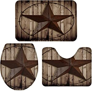 3 Pieces Bathroom Rugs and Mats Sets, Non Slip Water Absorbent Bath Rug, Toilet Seat/Lid Cover, U-Shaped Toilet Mat, Home Decor Doormats - Western Texas Star