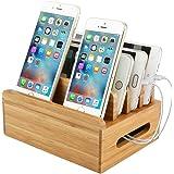 Bambus Ladestation, Handy Mehrfach Ladestation aus 100% Bambus USB Ladedock Desktop Ständer Multi Geräte Organiser Halter mit Einfache Kabelaufbewahrung für Smartphone, Tablet, Laptop, eReader usw.