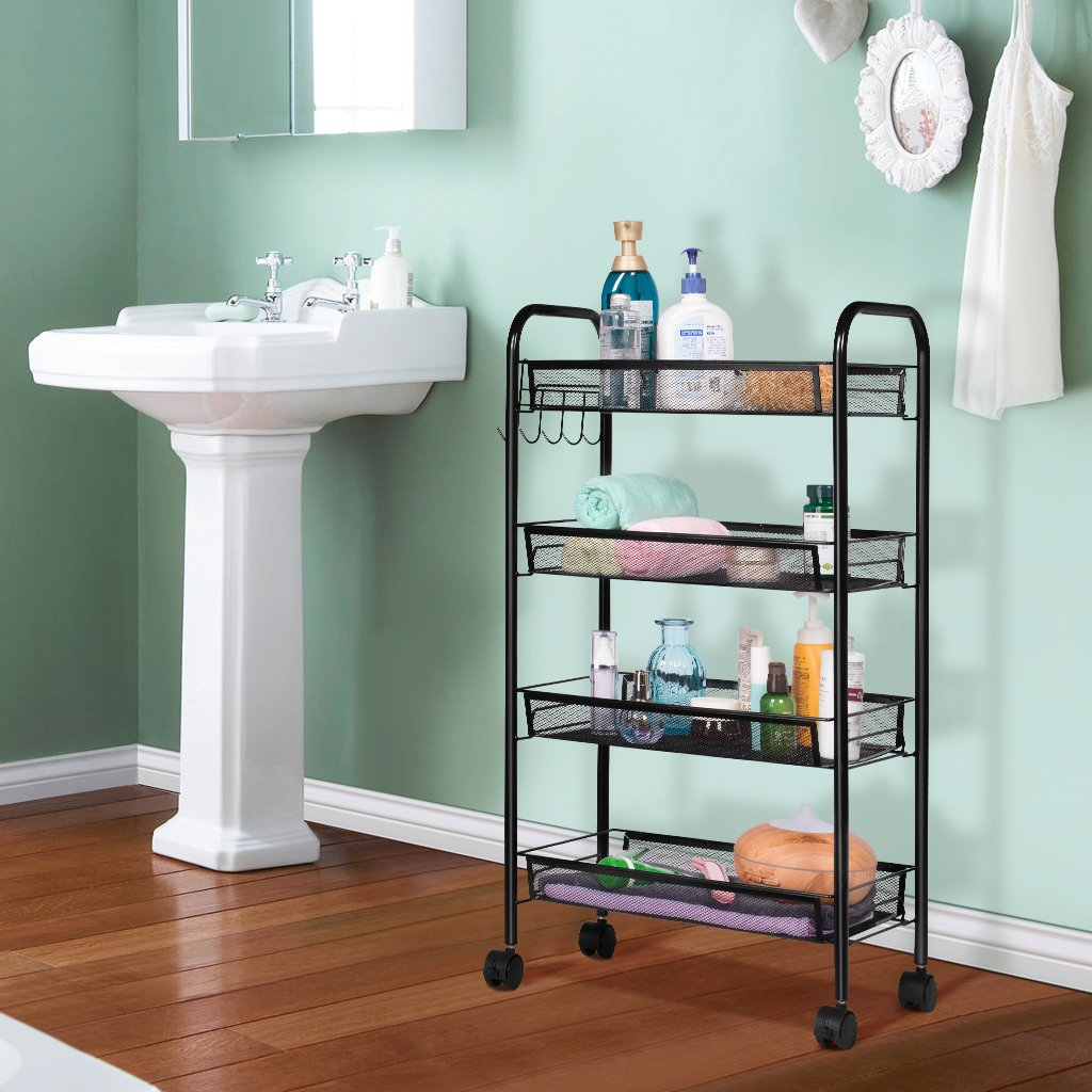 4-Tier Wire Shelving Unit Rolling Cart $25.89 - Save 30% off ...