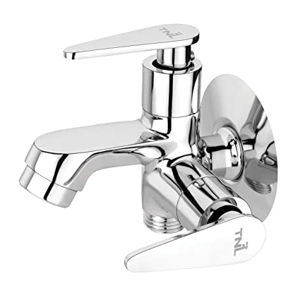 TNL® Arrow Two in One Angle Valve Quarter Turn 100% Brass Made Bib Cock C.P Fittings Bib Tap Bathroom Tap Washing Tap Kitchen Sink Tap(with Foam Flow Aerator)