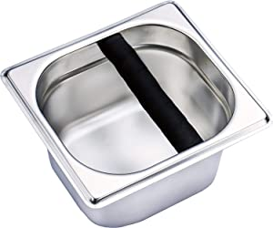 Coffee Knock Box,6.89 x 6.3 x3.94 inch Stainless Steel Espresso Knock Box Container for Coffee Ground