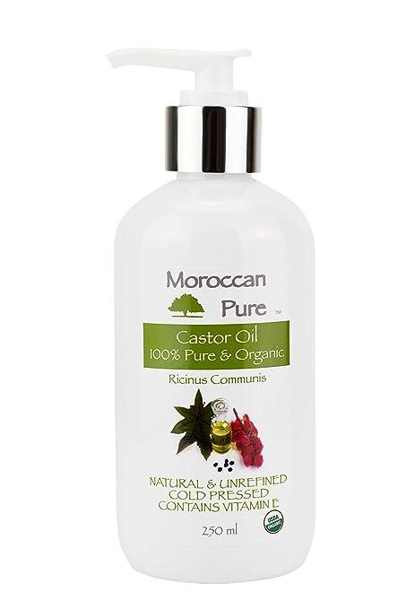 Puro Marroquí Orgánico Aceite de ricino para el cabello 250 ml