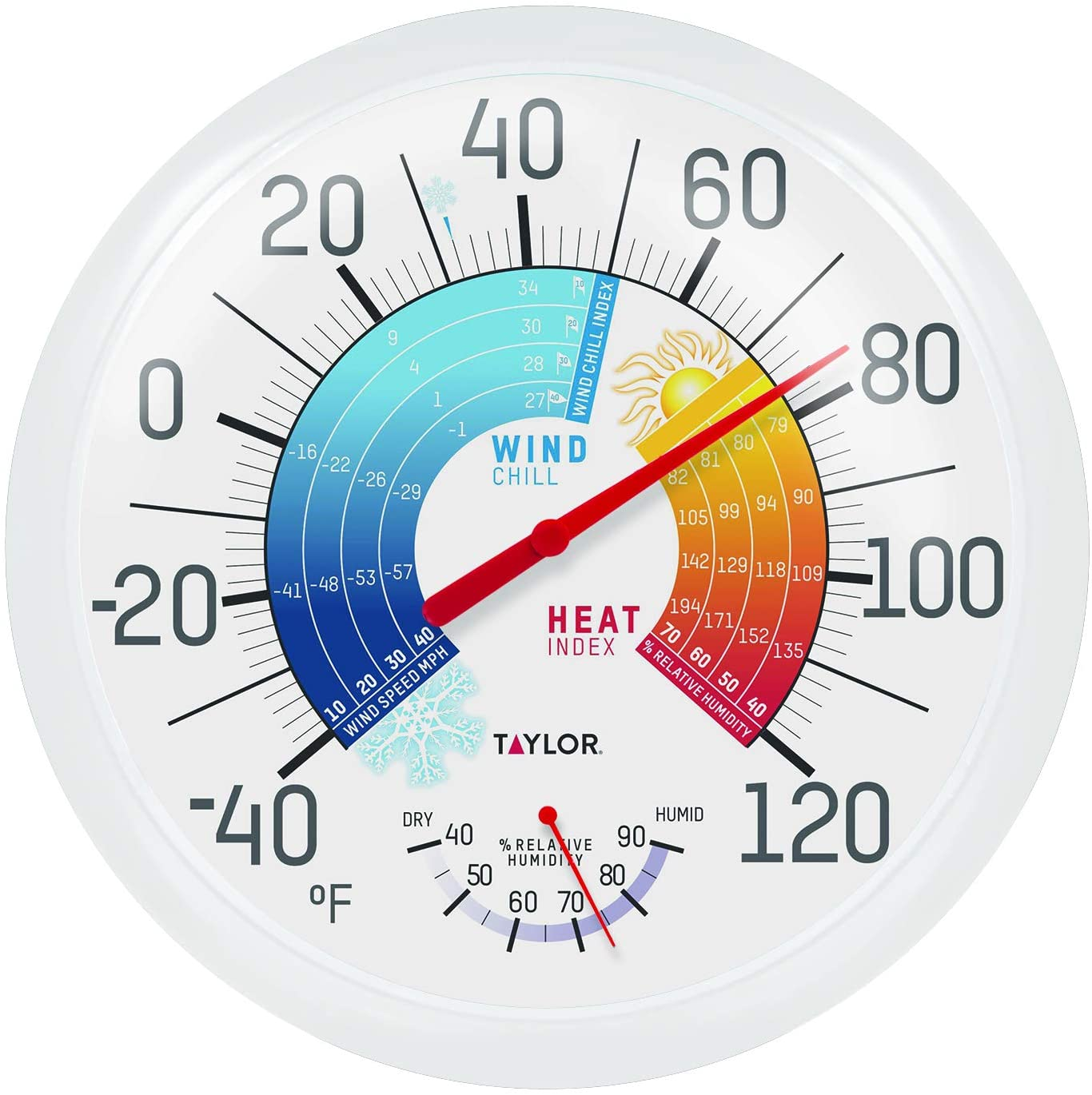 """Taylor Precision Products 6751 13.25"""" Wind Chill/Heat Index Thermometer & Hygrometer, Multi Color"""