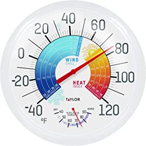 "Taylor Precision Products 6751 13.25"" Wind Chill/Heat Index Thermometer & Hygrometer, Multi Color"