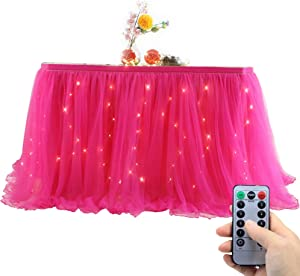 OakHaomie 10ft Table Skirt Tulle Tutu Table Cloth with 15pcs String Lights for Rectangle or Round Table for Party,Wedding,Birthday Party&Home Decoration,Table Skirting (Rose Red, 10ftX2.63ft)