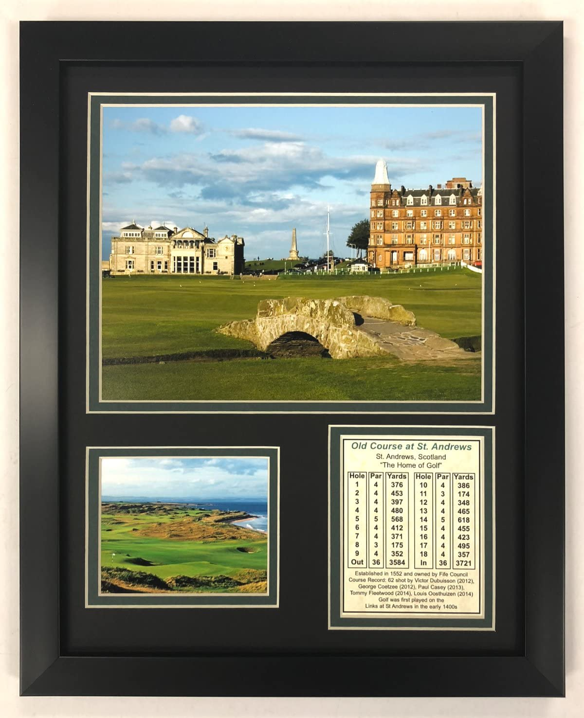 """Legends Never Die The Old Course at St. Andrews- British Open Collectible   Framed Photo Collage Wall Art Decor - 12""""x15"""""""