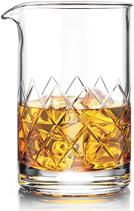147ea74ee3d Amazon.com  Premium Cocktail Mixing Glass - Seamless Lead-Free Crystal -  Thick Weighted Bottom - 18oz 550ml - Choice for Amateurs   Pros - Ideal  Gift  ...
