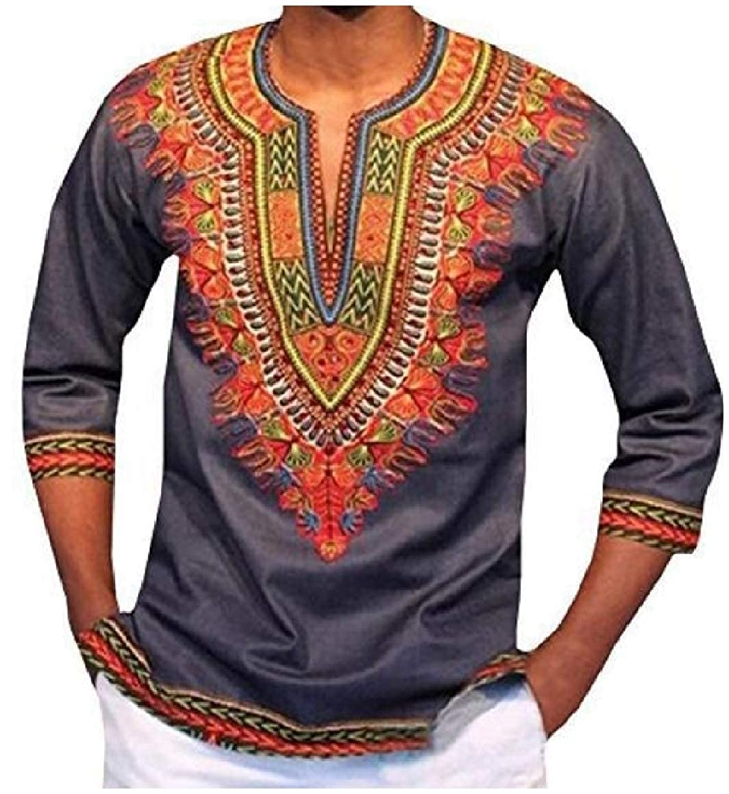 Abetteric Mens Navajo Floral African Style Half Sleeve V-Neck Dashiki Tees Top