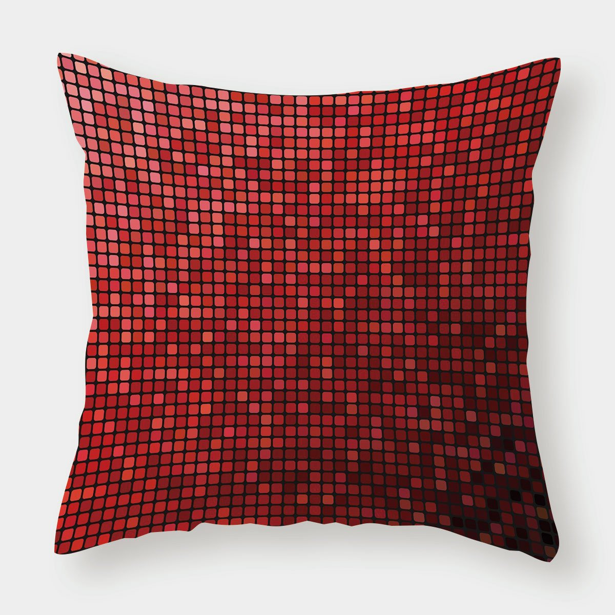 iPrint Satin Throw Pillow Cushion Cover,Maroon,Abstract Mosaic Grid Ombre Pattern Pixels Digital Technology Themed Tile Decorative,Maroon Scarlet Black,Decorative Square Accent Pillow Case