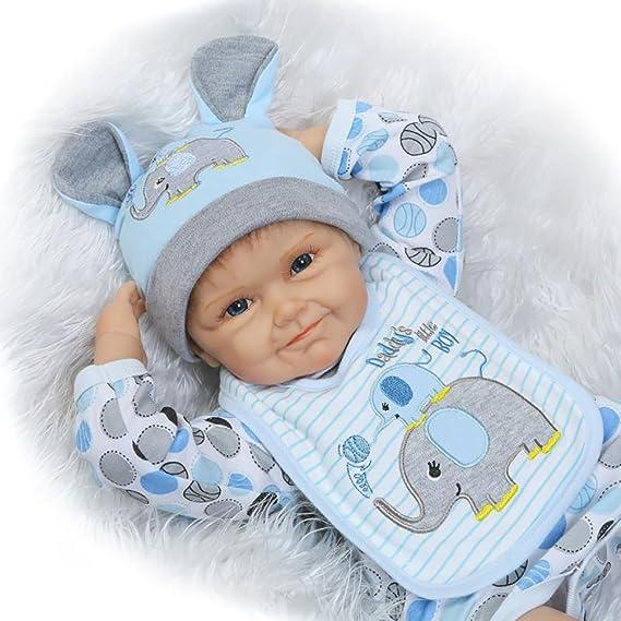 Amazon.com: ZIYIUI 22 inch Vinyl Soft Silicone Rebirth Baby Doll Big ...
