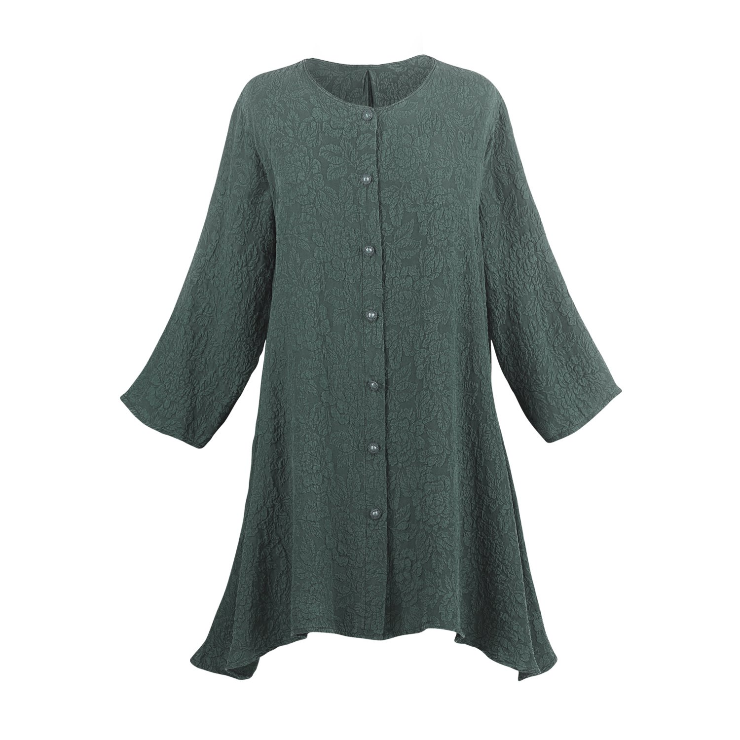 CATALOG CLASSICS Women's Tunic Top - Textured Silk Button Down Blouse - 3/4 Sleeves - Teal - Size 3