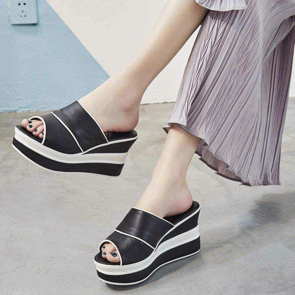 PENGFEI Pantofola Zapatillas Verano De Las Mujeres Fondo Grueso Cuña Moda Desgaste Exterior, Altura del Talón 9CM, 2 Colores (Color : Negro, Tamaño : EU38/UK5.5/US7/240) EU38/UK5.5/US7/240|Negro
