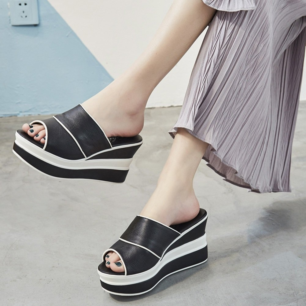 LIXIONG zapatillas Hembra verano Moda Fondo grueso Cuesta abajo demasiado alto con Boca de pescado zapato, Altura del talón 9cm, 2 colores -Zapatos de moda (Color : Negro, Tamaño : EU39/UK6/CN39/245) EU39/UK6/CN39/245|Negro