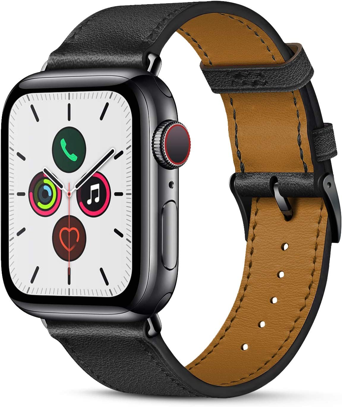 Compatible with apple watch band 44mm 42mm for iWatch Bands Series 5 4 3 2 1 Women Men, Pierre Case Durable Genuine Leather Replacement Strap, Adjustable Stainless Metal Clasp,Black