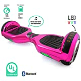 Self Balancing Scooter Hoverboard UL2272 Certified Smart Electric Personal Transportation Bluetooth with LED Light (Pink)