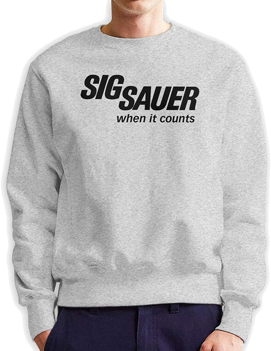 MYHL Men's Sig Sauer When It Counts Fashionable Casual Style Crew Neck Cotton Sweatshirt Hoodie