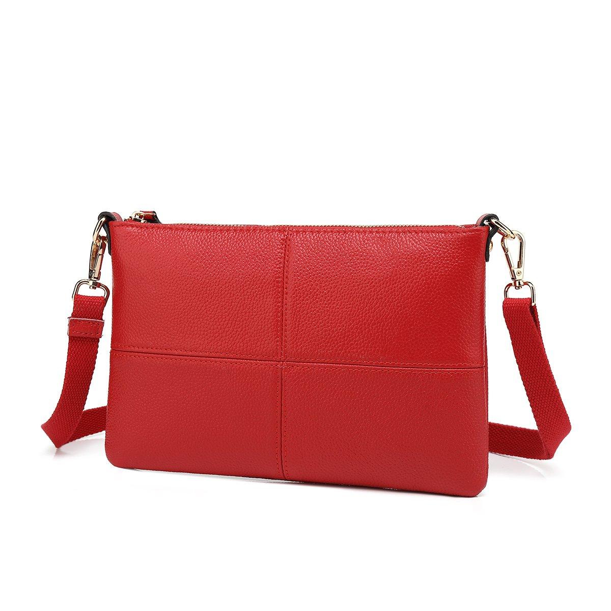 Women Leather Crossbody Bag,Clutch Purse Shoulder Bag for Travelling Red