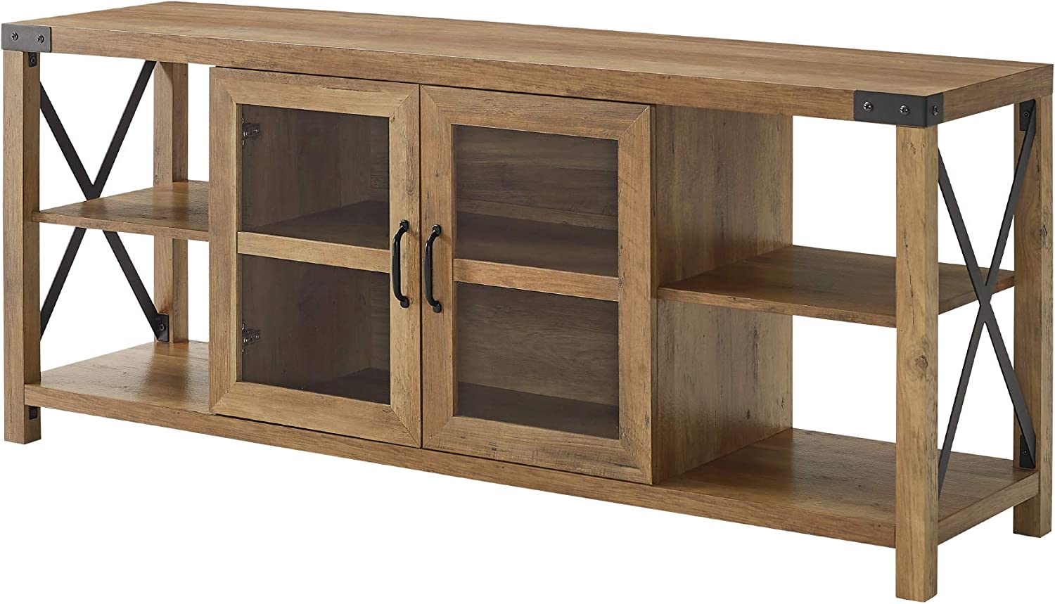 60 Inch Walker Edison Furniture Company Modern Farmhouse Metal X Wood TV Stand Storage Cabinet for TVs up to 64 Flat Screen Living Room Storage Entertainment Center Brown Reclaimed Barnwood