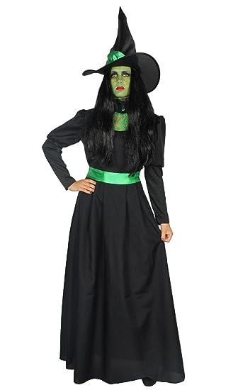 53816b8346 Foxxeo 40286 I Deluxe Hexenkostüm grün lang edel schwarz mit Hut Damen Hexe  Hexenkleid Fasching Halloween