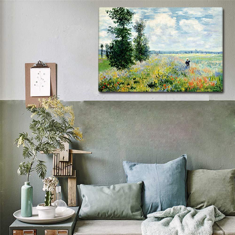 Claude Monet Famoso Olio Dipinti Replica Papavero Campi Stampe su Tela Muro Arte per Il Soggiorno Adatto Stampe di Monet Dimensioni 60x90cm Telaio in Legno Fajerminart Stampe su Tela Moderne