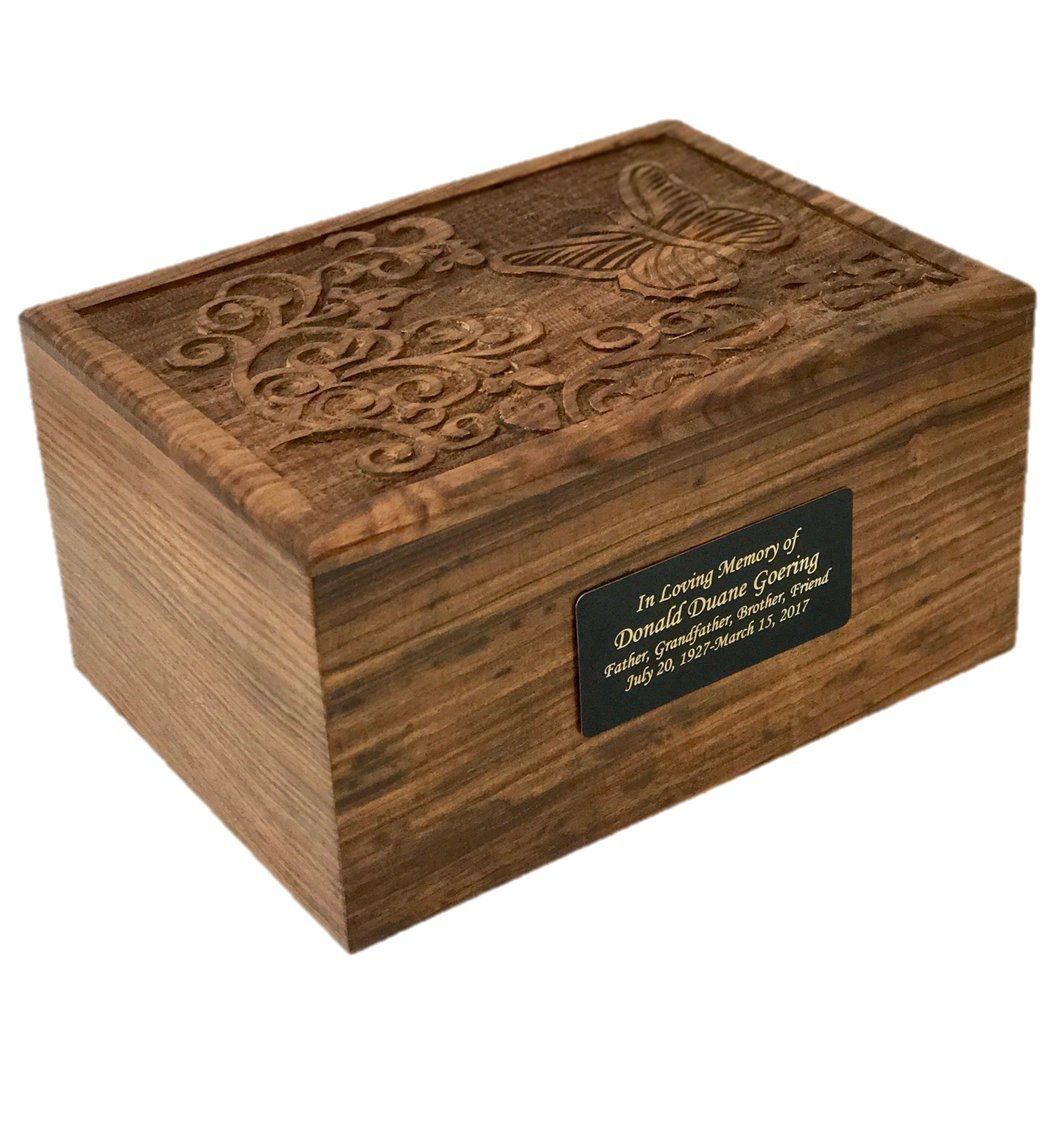NWA Adult Size Hard Wood Human Funeral Cremation Urn with Butterfly and Flowers and a Personalized Plate