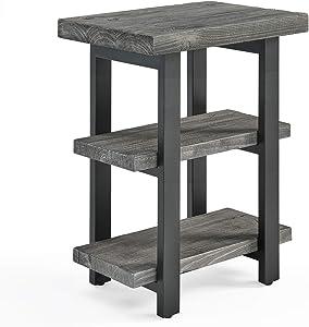 Pomona Metal and Reclaimed Wood 2-Shelf End Table, Slate Gray